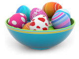 Easter eggs in a blue bowl
