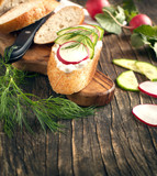 Fresh bread with Cottage cheese, radish and cucumber
