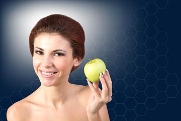 Woman with Fresh Green Apple.Health White Teeth