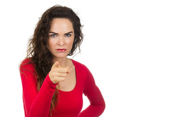 Annoyed angry woman pointing