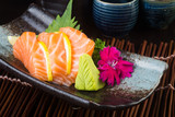 japanese cuisine. sashimi on the background