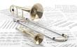 Leinwanddruck Bild - Trombón y Trompeta sobre partituras 2