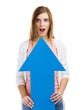 Astonished woman holding a blue arrow pointing up