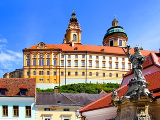View of the historic abbey above the town of Melk, Austria