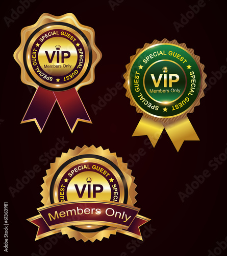 Set of vip badge