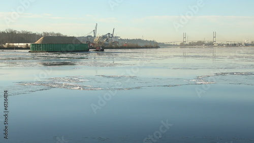 Sawdust Barge and Tugboat on Icy Fraser River