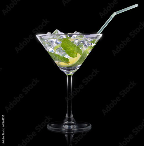 Cocktail mojito on a black
