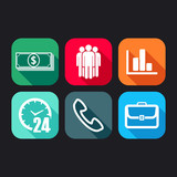 flat icons for web and mobile applications with business signs