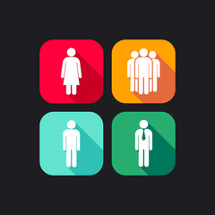 flat icons for web and mobile applications with people signs