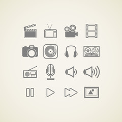 vector icons with creative industry items