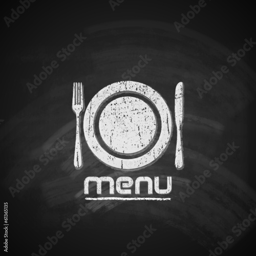 vintage chalkboard menu design with plate, fork and knife