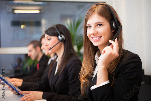 Smiling customer representative at work