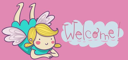 benvenuta! illustrazione per bimba neonata