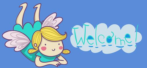 benvenuto! illustrazione per bimbo neonato