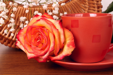 still life with flowers and coffee mug