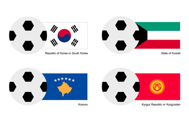 Soccer Ball with South Korea, Kuwait, Kosovo and Kyrgyzstan Flag