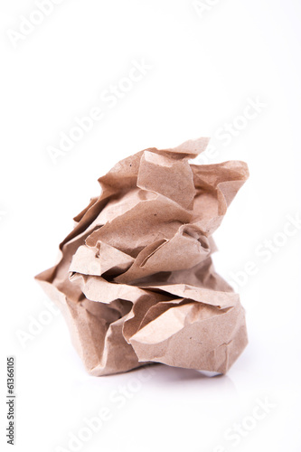 Crumpled sheet of recycled paper