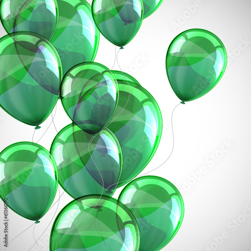 holiday background with flying green balloons