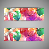 set of holiday banners with multicolored balloons and white bows