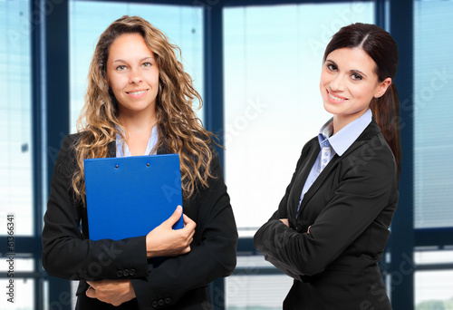 Smiling businesswomen in the office
