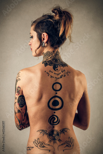 canvas print picture tattooed naked girl