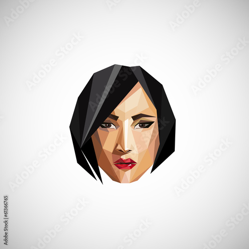 illustration with a female face in origami style