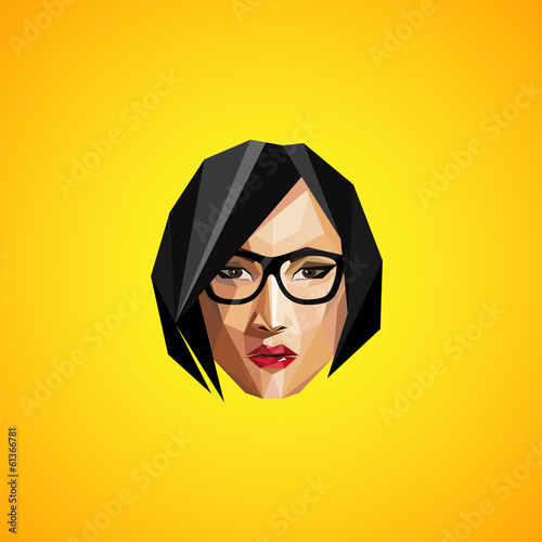 illustration with a female face in origami style. hipster