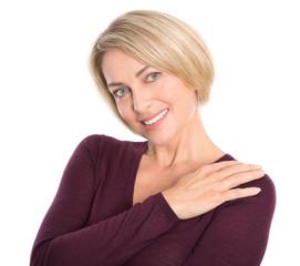 Gut aussehende attraktive ältere blonde Frau isoliert