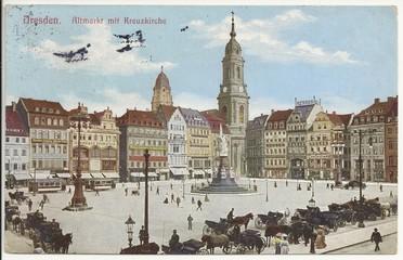 Dresden, Altmarkt mit Kreuzkirche 1910 (hist. Postkarte)