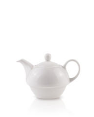 Coffee-pot with white copy space