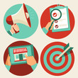 Flat business icons - advertising and marketing