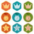 Vector achievement badges - gold, silver, bronze