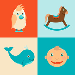 Vector childish icons and signs in flat style