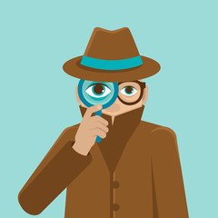 Vector detective illustration in flat style