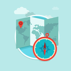 Vector travel concept in flat trendy style