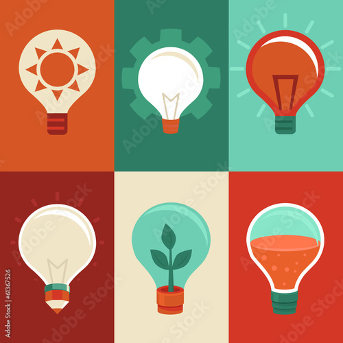 Idea and innovation concepts - flat light bulbs