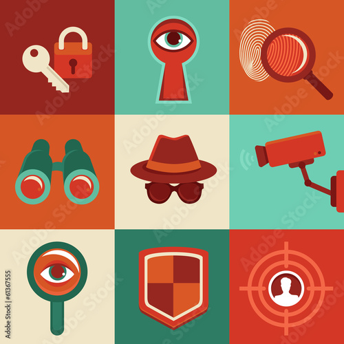 Vector surveillance concepts -icons in flat style