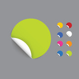 Modern design realistic stickers. Rolled stickers with space for