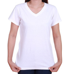 blank t-shirt on woman