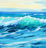 morning on sea, wave,  illustration, painting by oil on a canvas