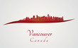 Vancouver skyline in red