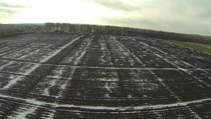 Rural fields in  winter. Aerial landscape