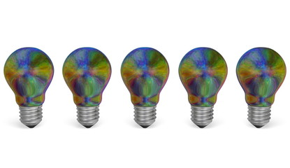 Row of multicolored iridescent light bulbs. Front view