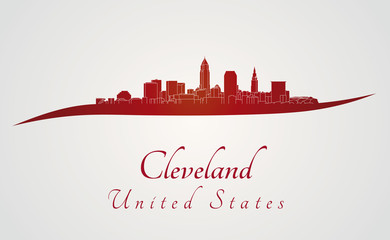 Cleveland skyline in red