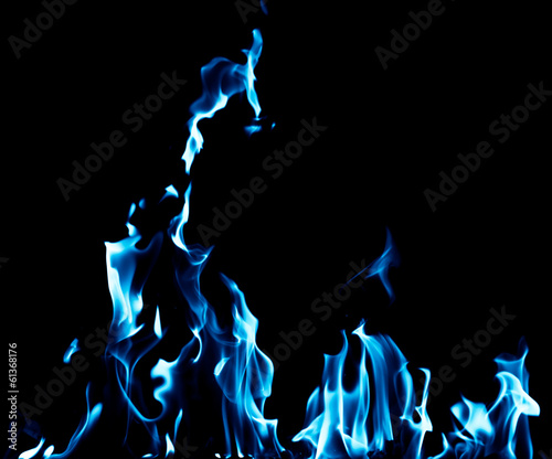 blue flame fire on black background