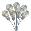 Bouquet of pearl light bulbs on iridescent wires