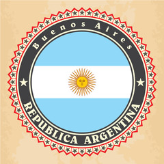 Vintage label cards of Argentina flag. Vector