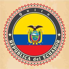 Vintage label cards of Ecuador flag. Vector