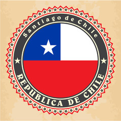 Vintage label cards of Chile flag. Vector