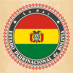 Vintage label cards of Bolivia flag.